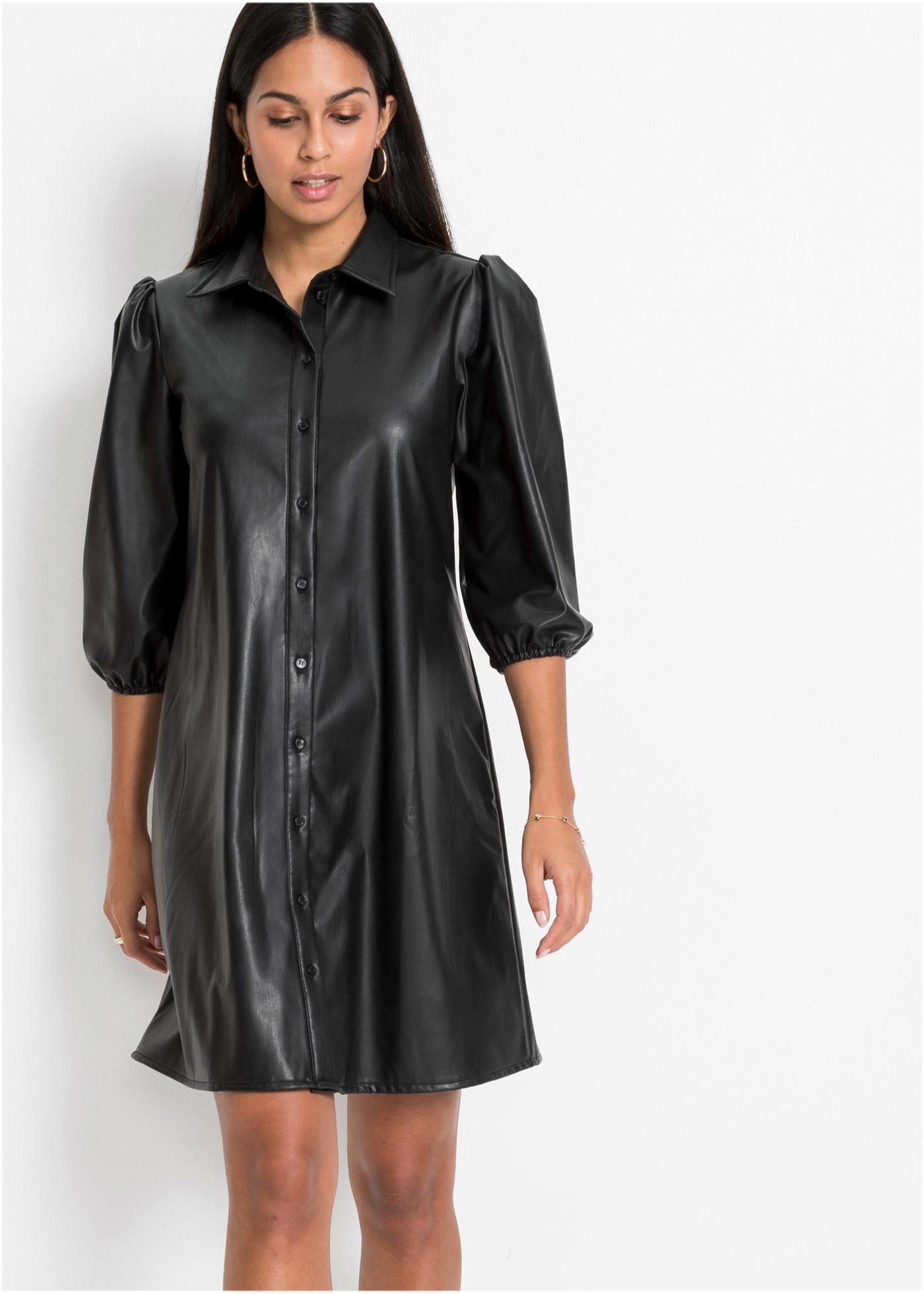 Modernes Kleid Aus Lederimitat Mit Knopfleiste  Schwarz