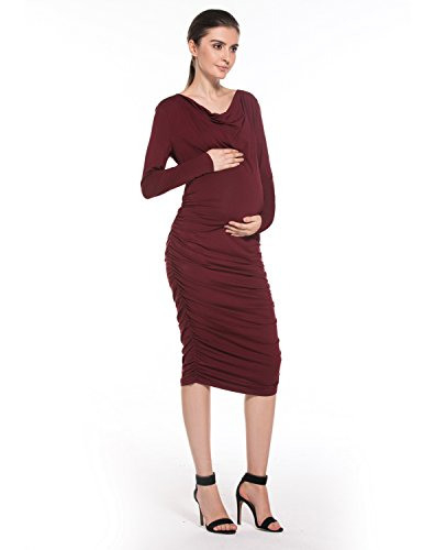 Modetrend Damen Umstandskleider Mama Elegant Kleider Mit
