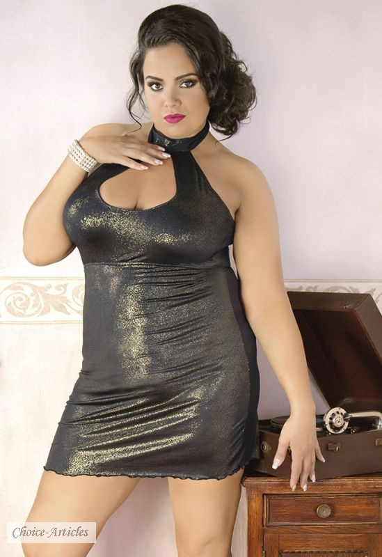 Mollige Mode Günstig Gold Schimmerndes Kleid Bis 56
