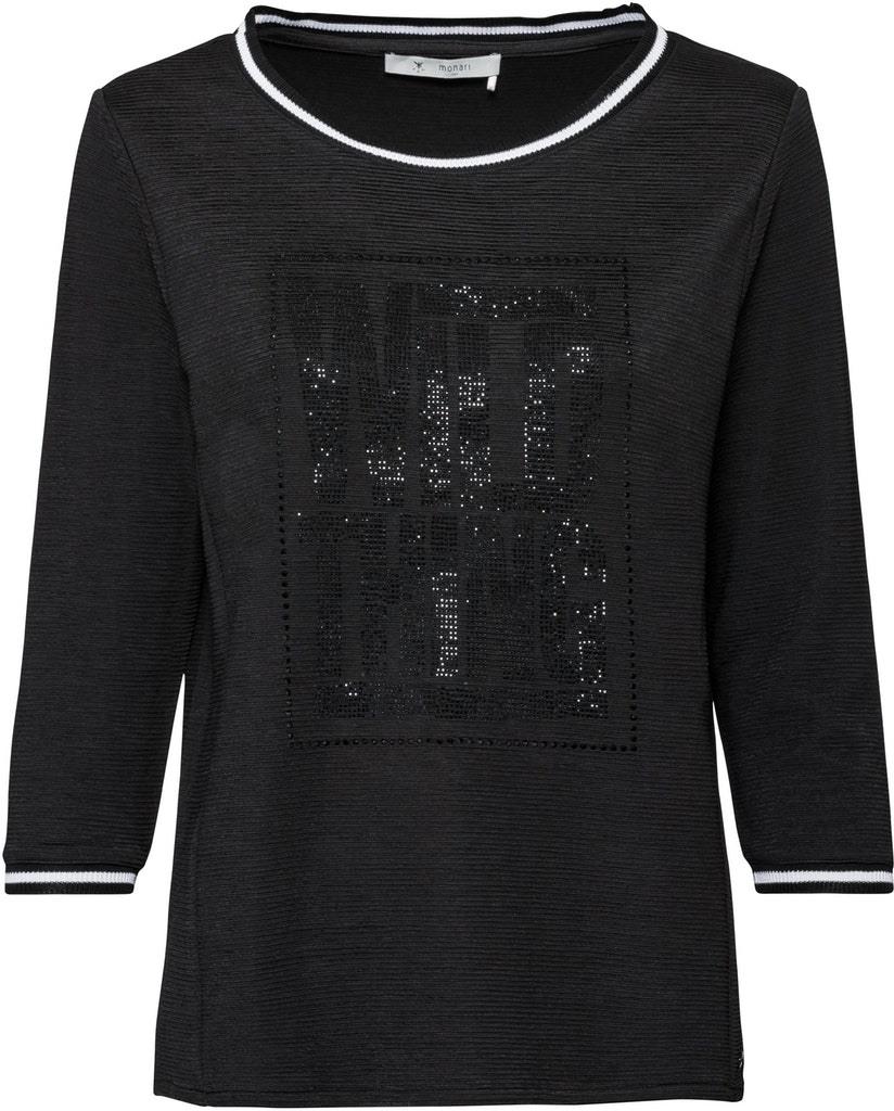 Monari Damen Shirt Schwarz Strassmotiv 804141  Ceres Webshop