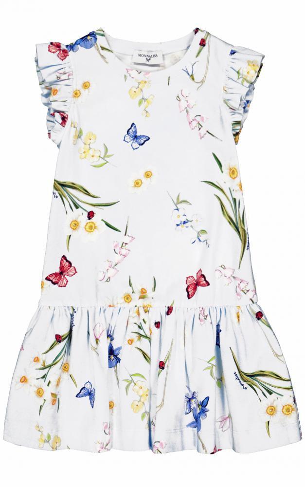 Monnalisa Jersey Kleid In Weiß Mit Blumen