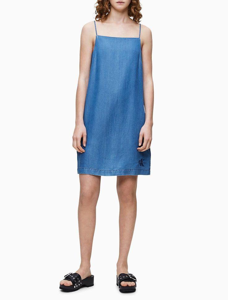 Monogramm Logo Denim Slip Kleid  Calvin Klein  Products