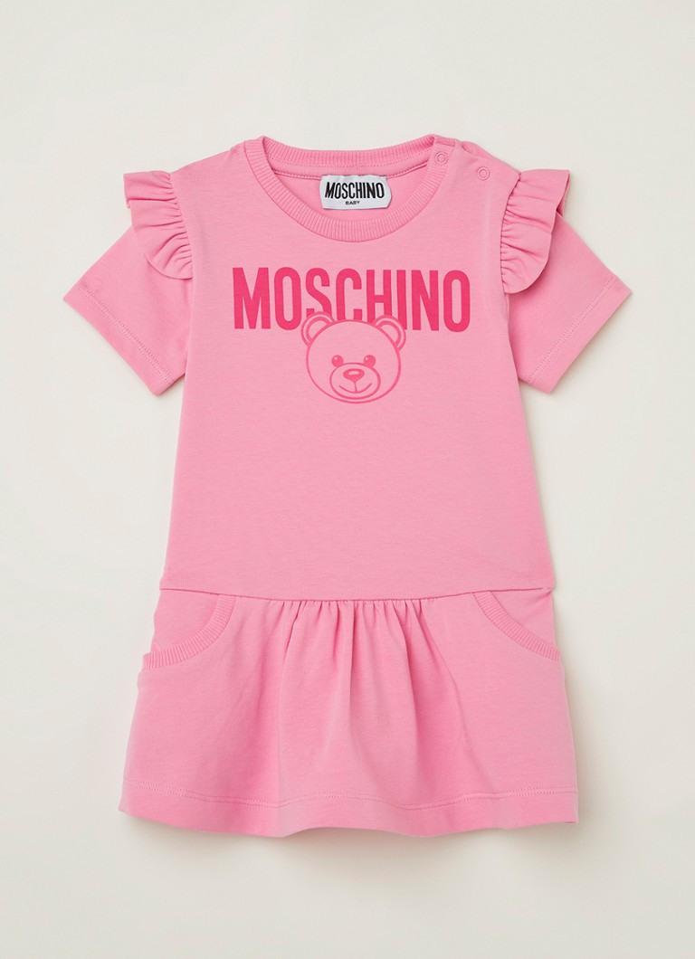 Moschino Kleid Aus Jersey Mit Rüschen Und Logoaufdruck
