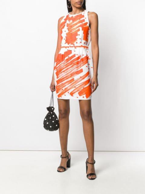 Moschino Kleid Mit Kritzelprint Damen 1127 White Orange