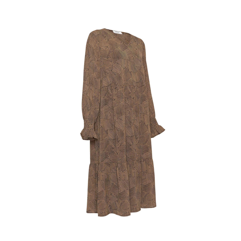 Moss Copenhagen Kleid Streifenprint In Schwarzbraun
