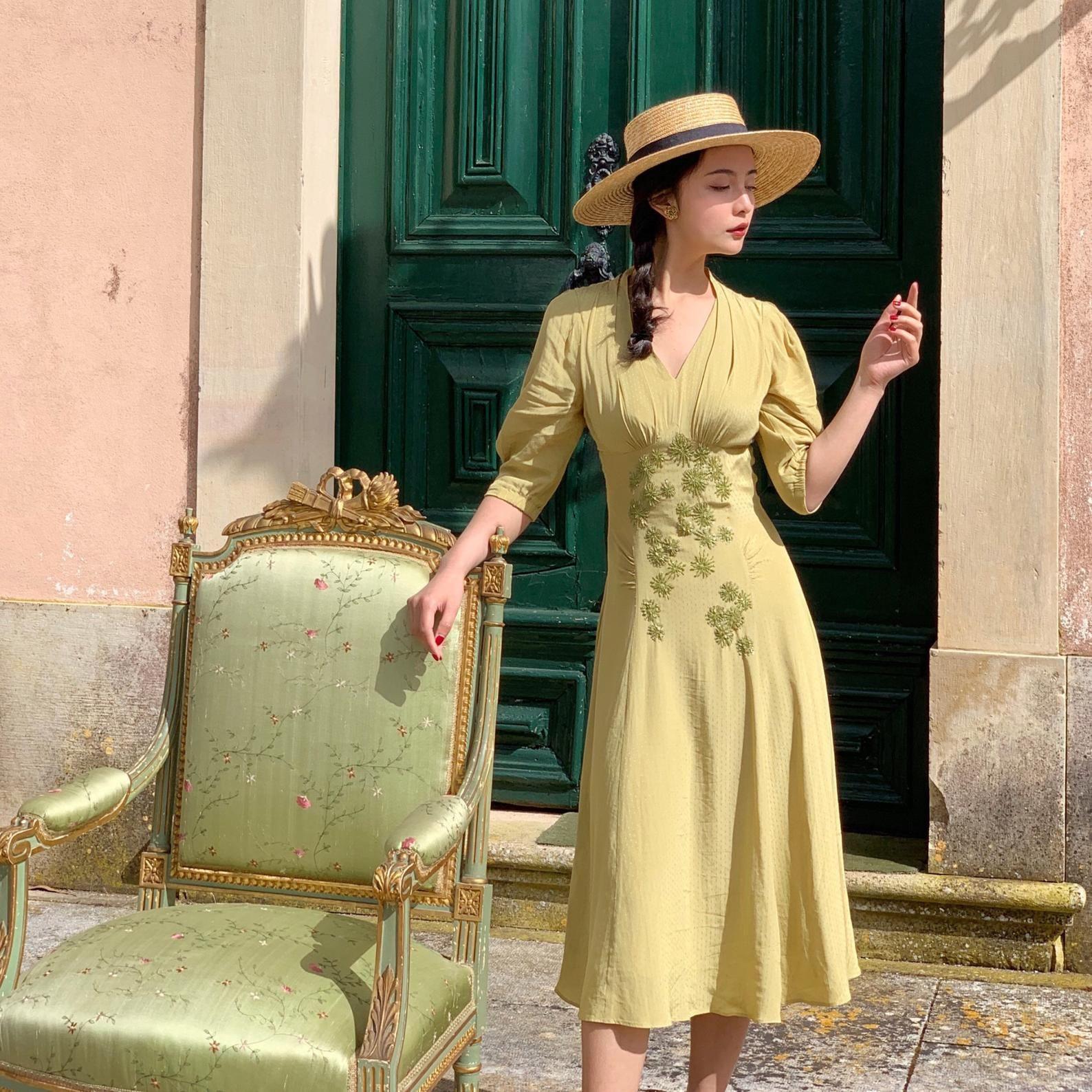 Mr Wasser Französisch Retrostil V Hals Gelb Kleid Damen