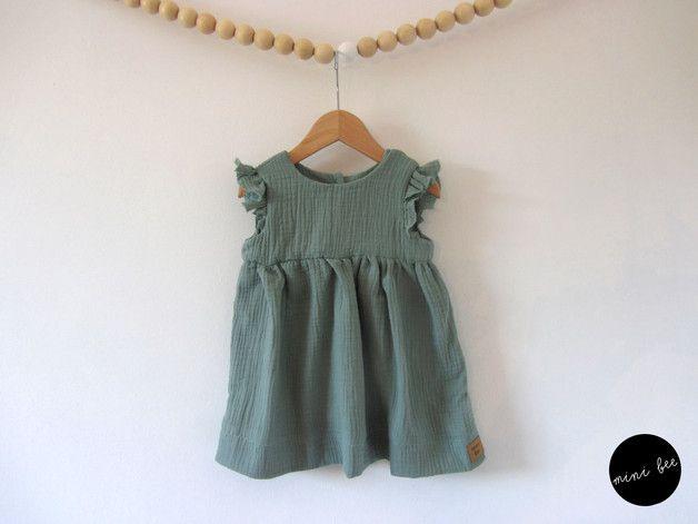 Musselinkleid • Salbei • Flügelärmelchen  Musselin Kleid