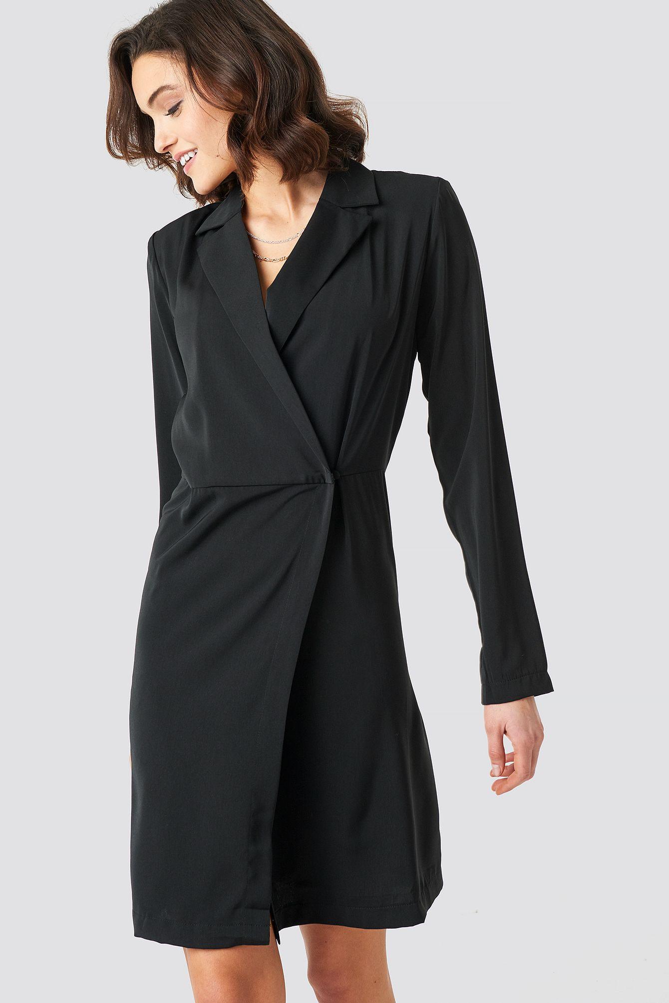 Nakd Party Collared Wrap Over Midi Dress  Black  Black