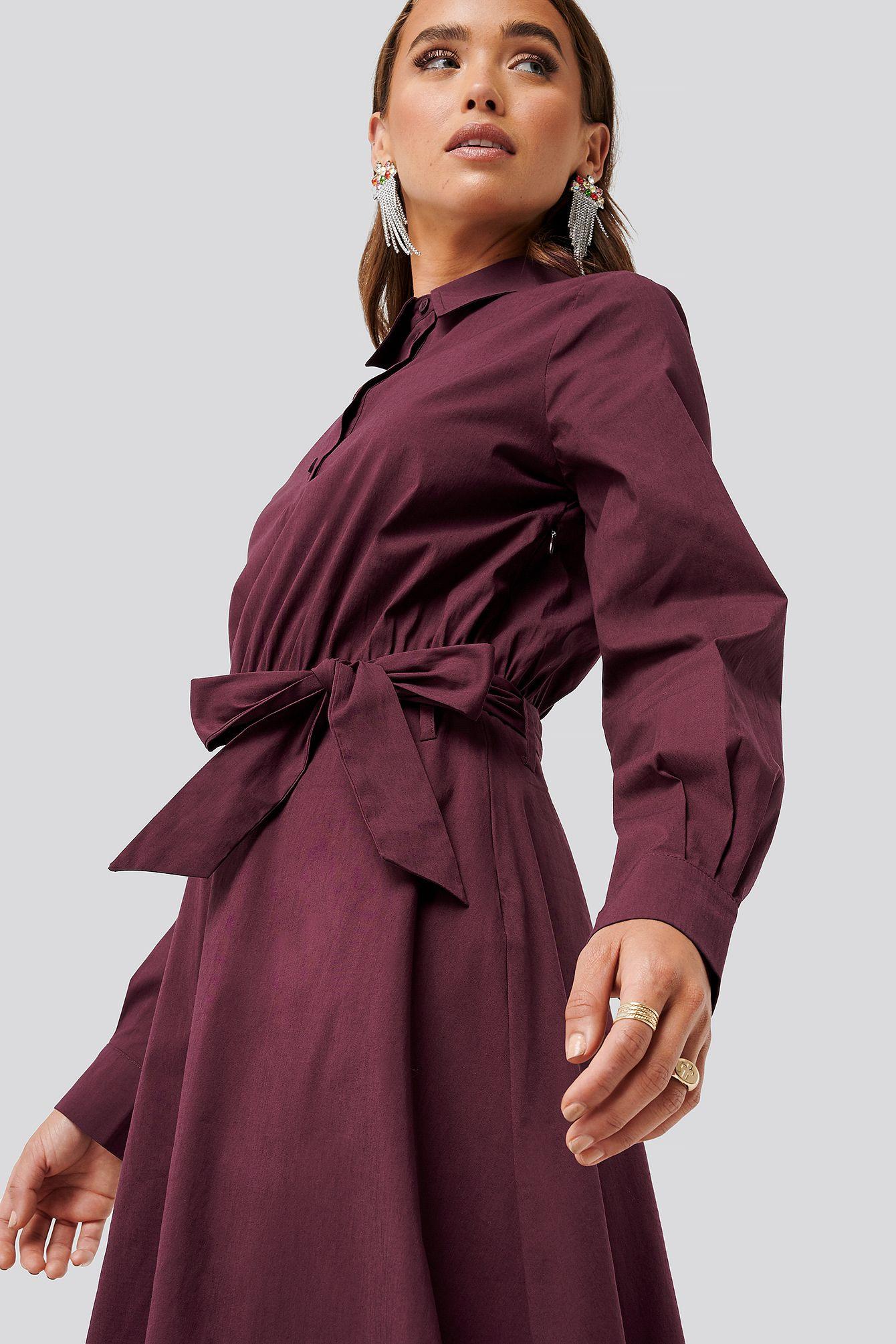 Nakd Tied Waist Shirt Dress  Red In Purple  Modesens In