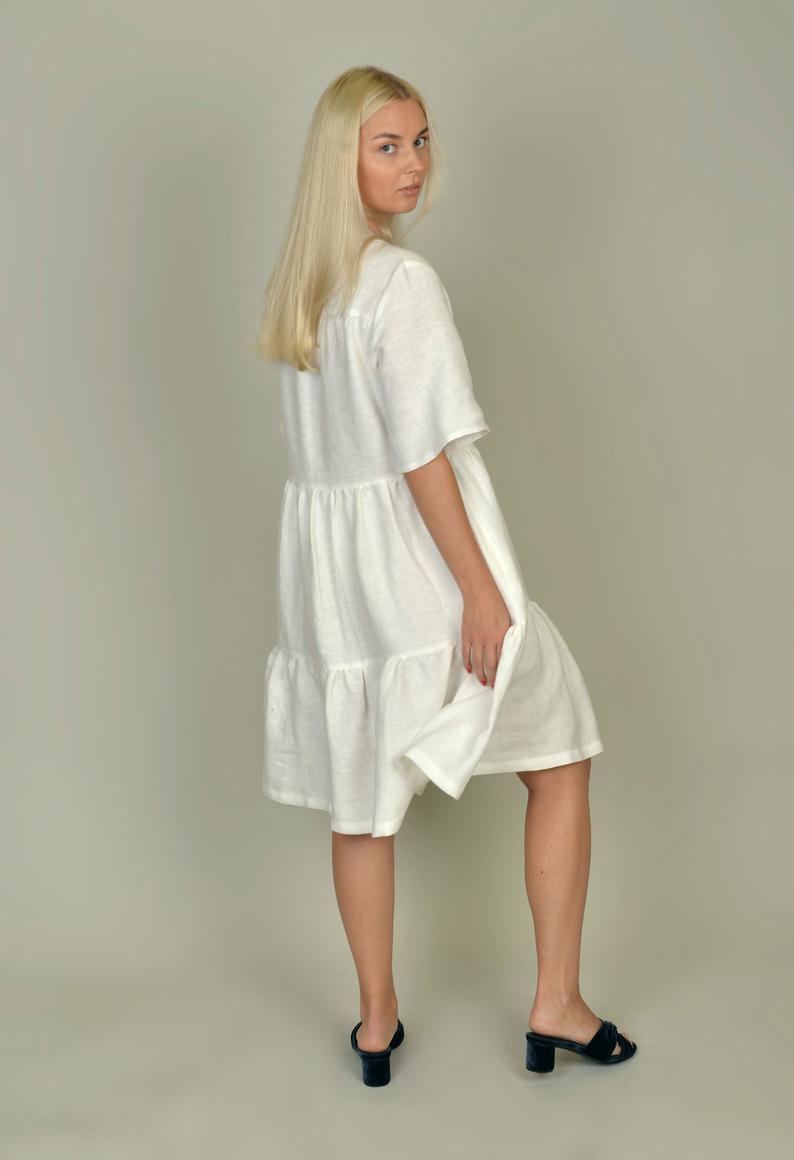 Natürliche Linen Kleid Weißes Leinenkleid Rüschen Saum