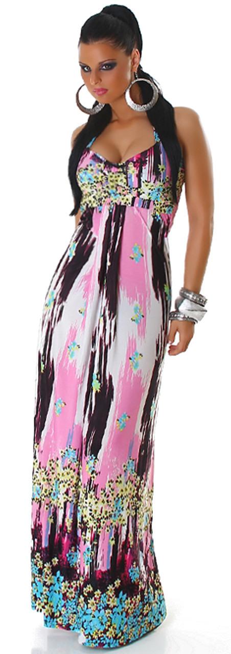 Neckholder Maxikleid Lang Bunt Kleid Einheitsgröße 34 36