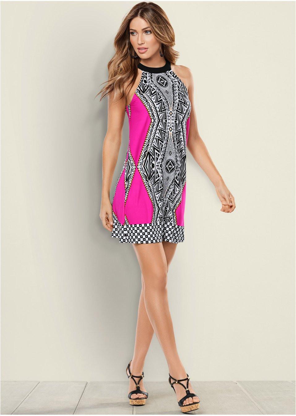 Neckholderkleid Pink/Schwarz  Bodyflirt Boutique Online