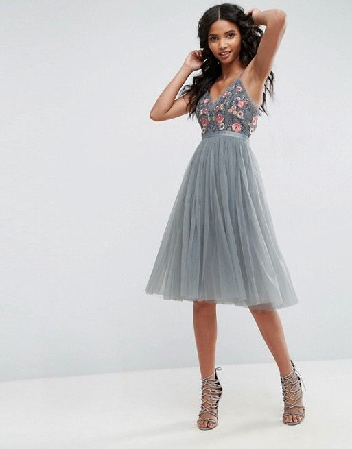 Needle  Thread Whisper Embroidered Tulle Midi Dress From
