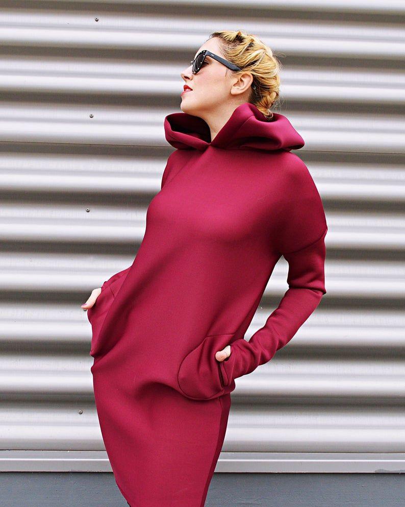 Neoprene Winter Dress Plum Short Dress Mit Pockets Plus