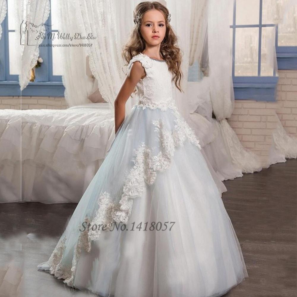 Nettes Blumenmädchen Kleider Lange Pageant Kleider Für