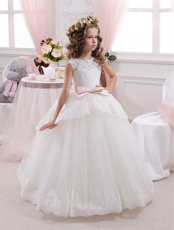 Neu Blumenmädchen Kleid Weiß/Elfenbein Mädchen Kinder