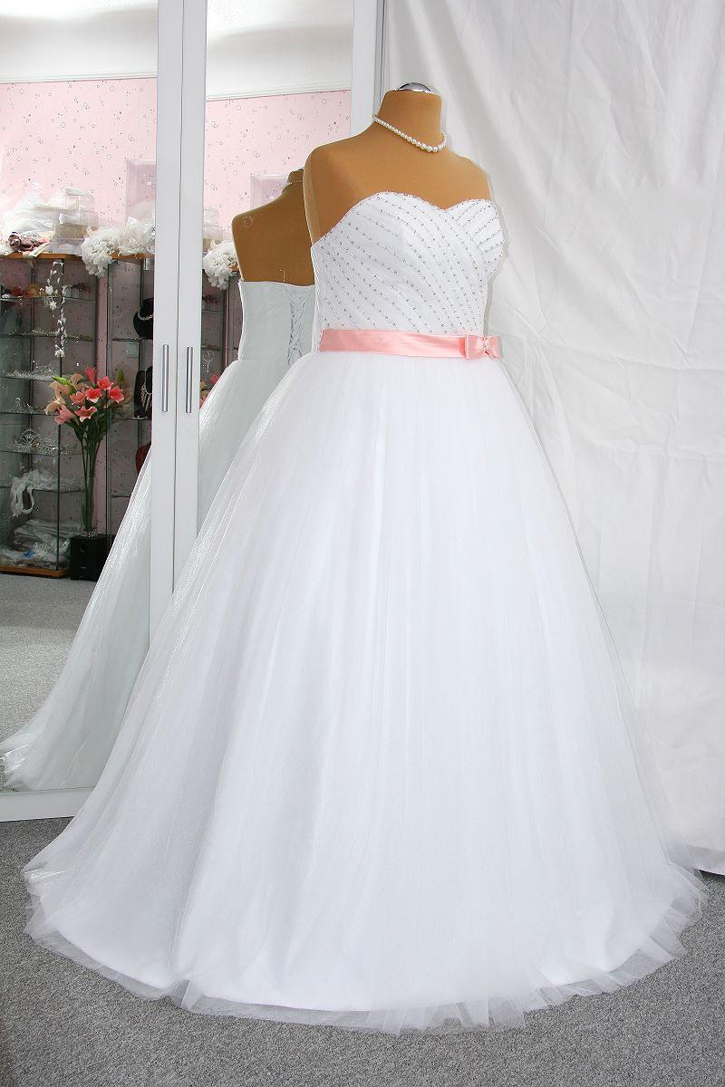 Neu Brautkleid / Hochzeitskleid 48 / 50 / 52 Weiß / Rosa