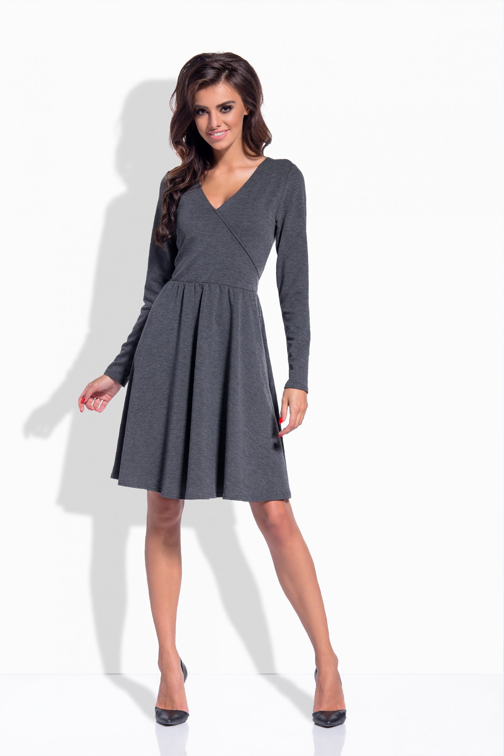 Neu Damen Midi Kleid Knielang Bleistiftkleid Langarm