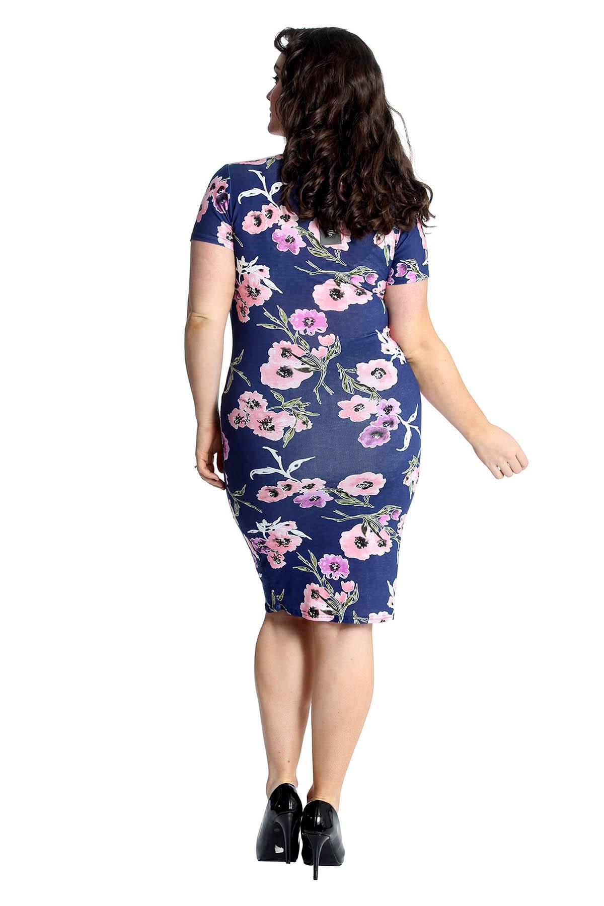 Neu Damen Übergröße Kleid Damen Bodycon Midi Floral Print