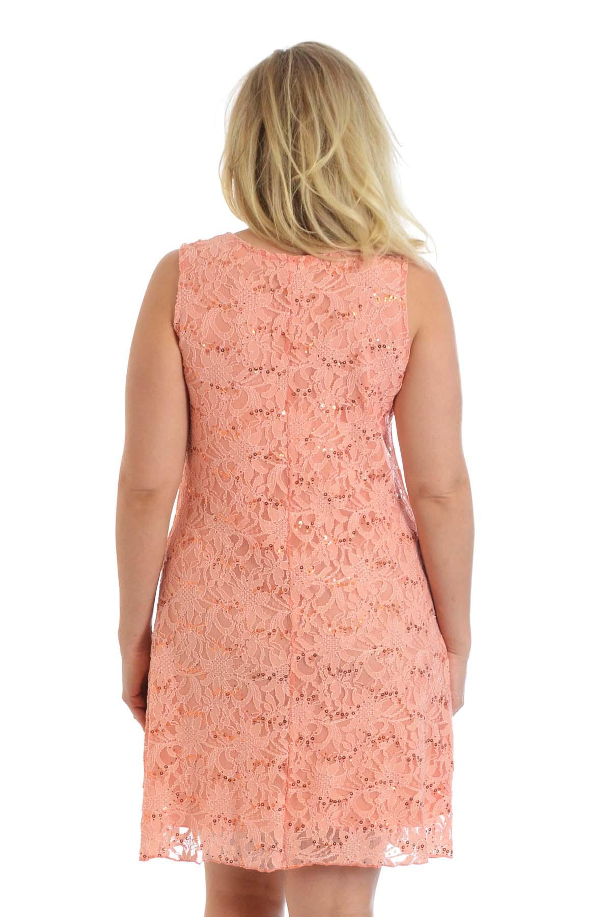 Neu Damen Übergröße Kleid Spitze Flapper Gezeichnet