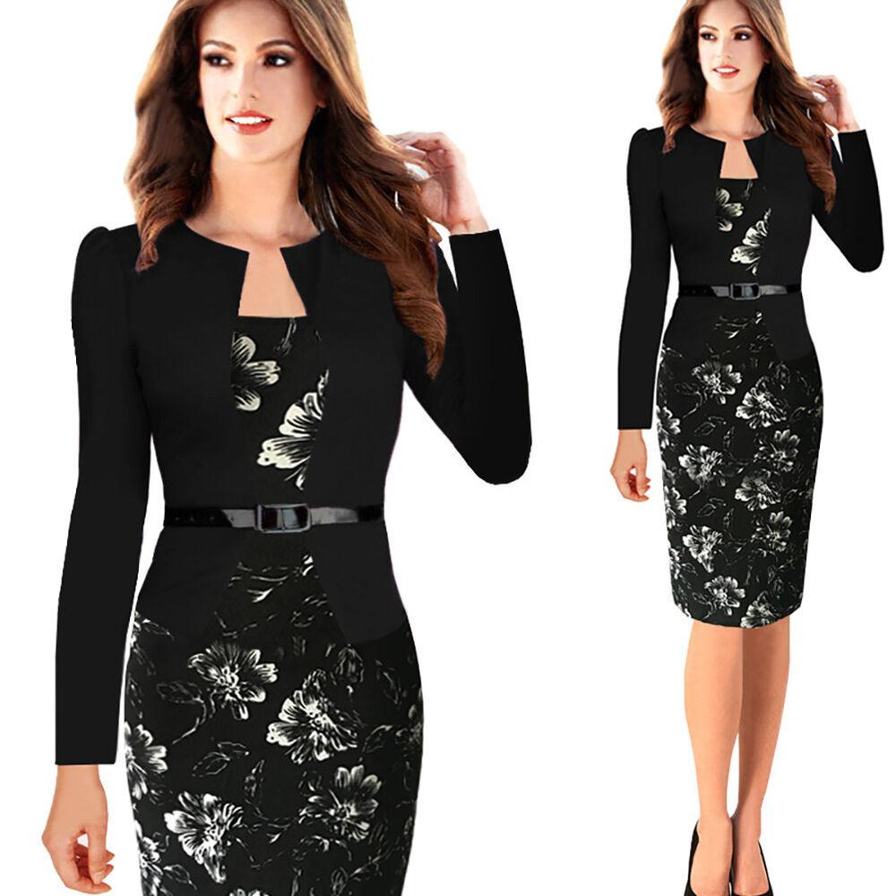 Neu Elegant Damen Blumen Kleid Etuikleid Langarm Business