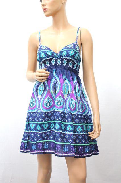 Neu Hm Divided Damen Kleid Trägerkleid Sommerkleid Boho