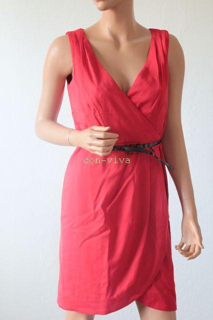 Neu Hm Edles Kleid Wickelkleid M Gürtel Abendkleid Rot  Ebay