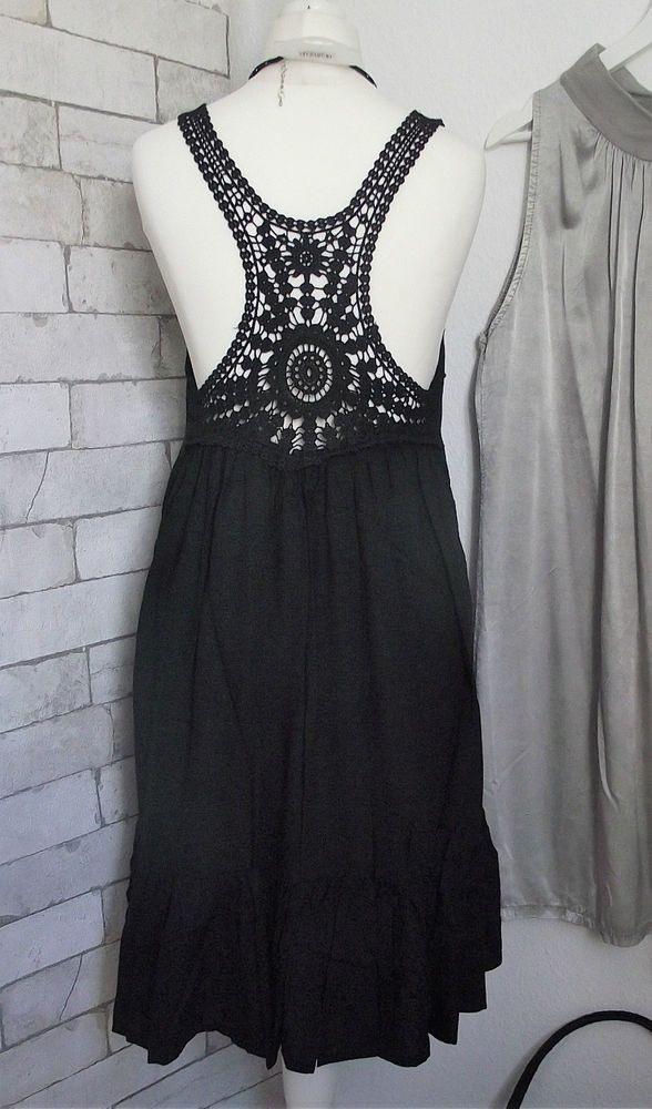 Neu Kleid Tamaris Baumwolle Häkelspitze Schwarz Gr 34