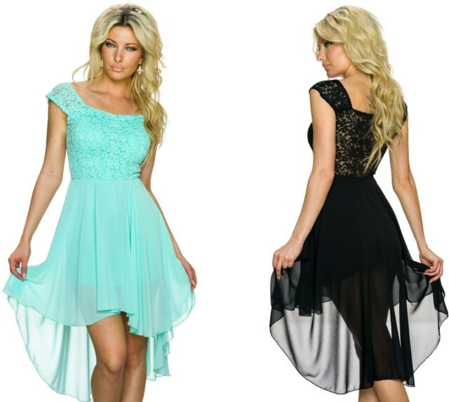 Neu Sommer Vokuhila Bandeau Netz Kleid Vorne Kurz Hinten