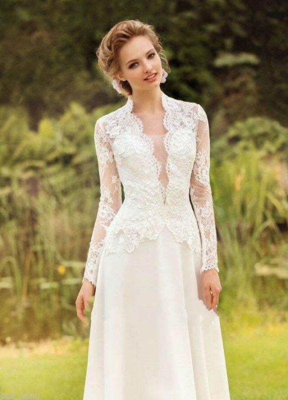 Neu Vintage Spitze Brautkleid Elfenbein Langarm Abendkleid
