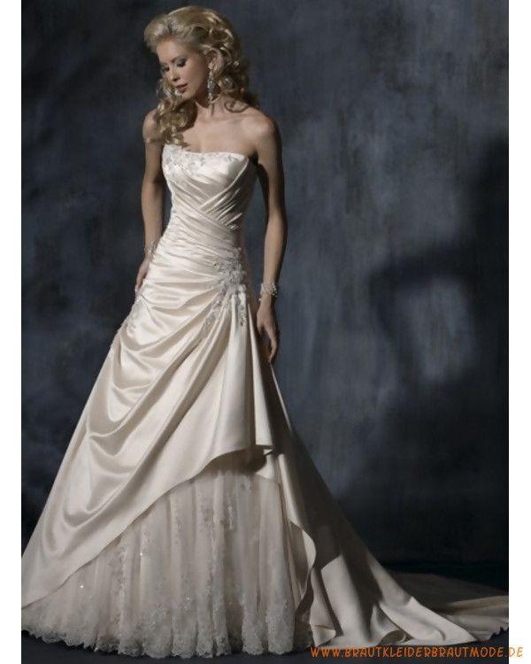 Neue Elegantes Brautkleid Aus Taft Scoopausschnitt