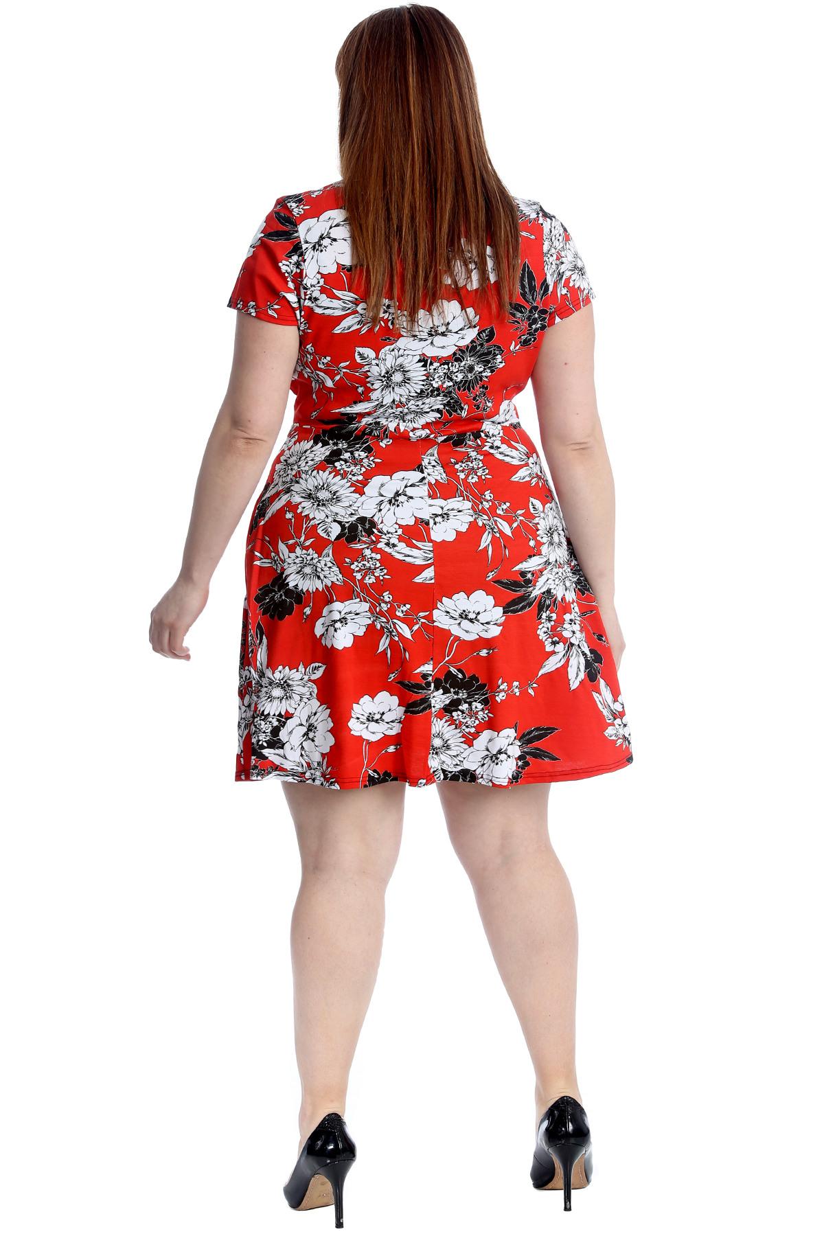 Neue Frauen Übergröße Kleid Damen Blumen Übergkreuz Tunika
