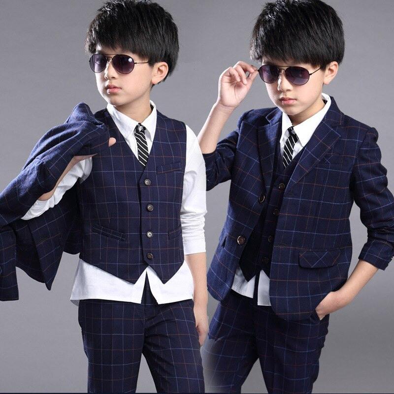 Neue Jungen Bekleidung Set Plaid Mantel Und Weste Und