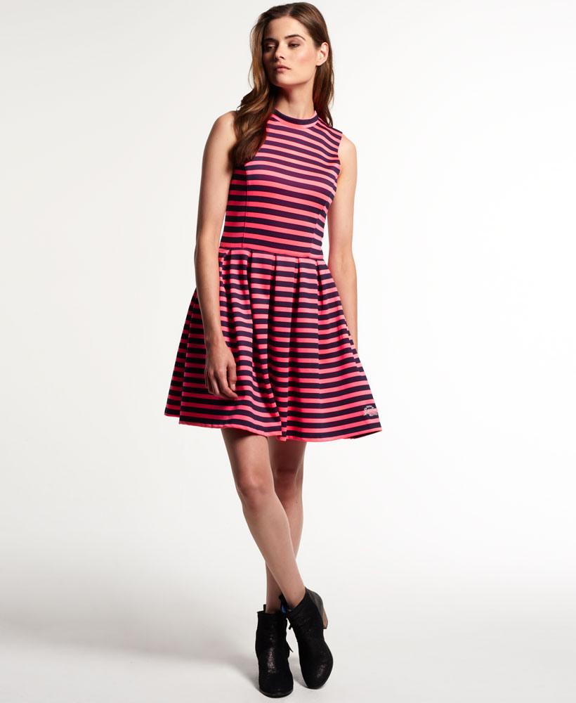 Neues Damen Superdry Premium Scuba Kleid Fluro Coral  Ebay