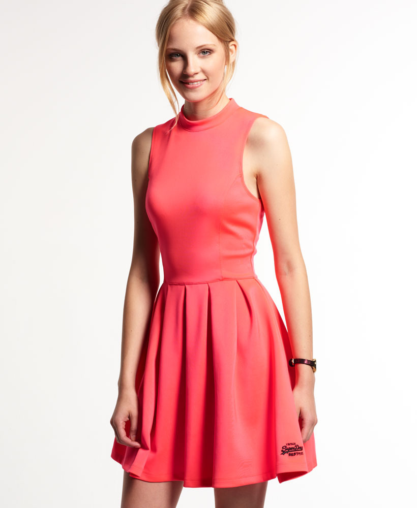 Neues Damen Superdry Premium Scuba Kleid Fluro Pop Cherry