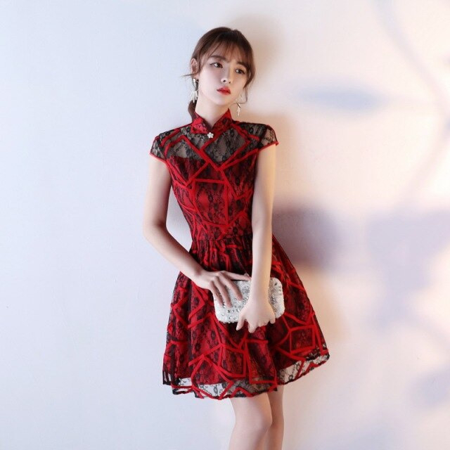 New Lace Black Cheongsam Qipao Dress Style Chinois Femme