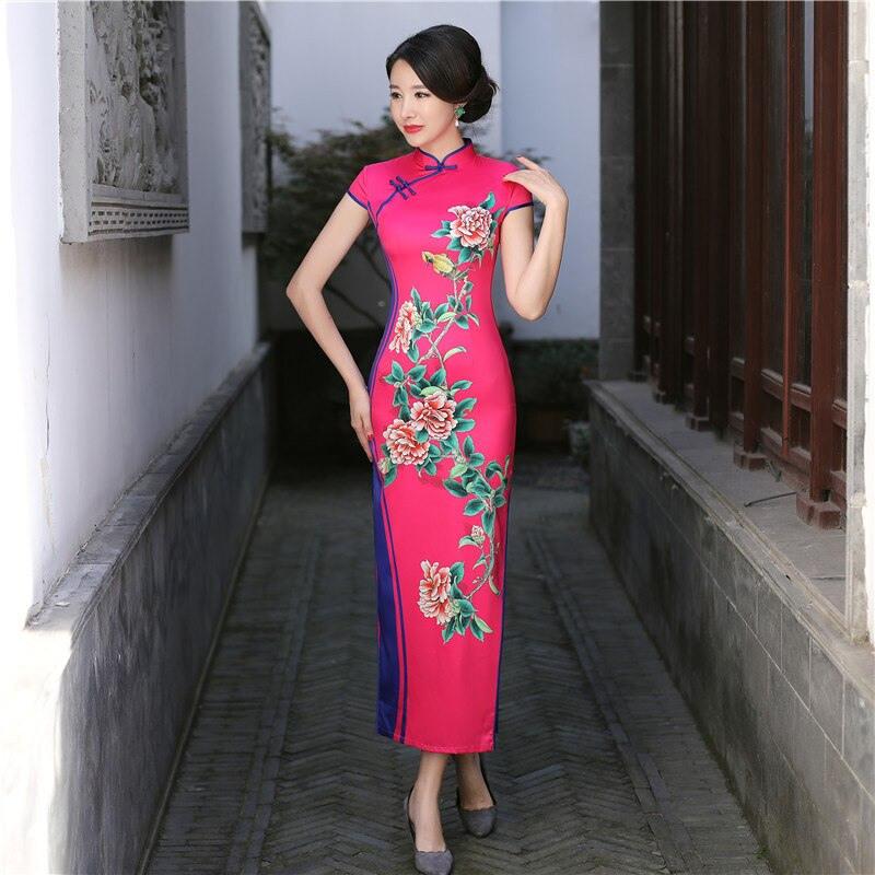 New Rayon Cheongsam Long Qipao Dress Style Chinois Femme