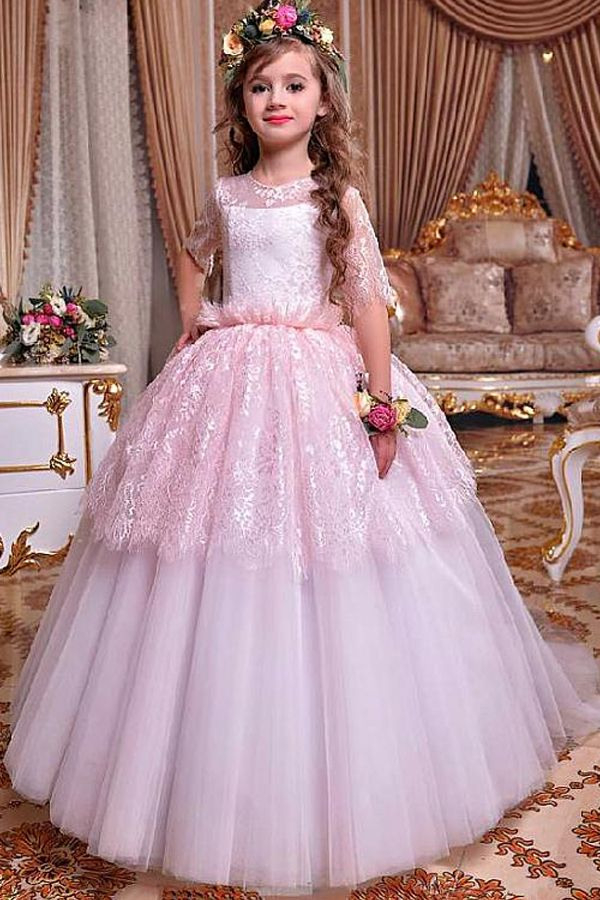 New Sweet Lace  Tulle Jewel Neckline Ball Gown Flower