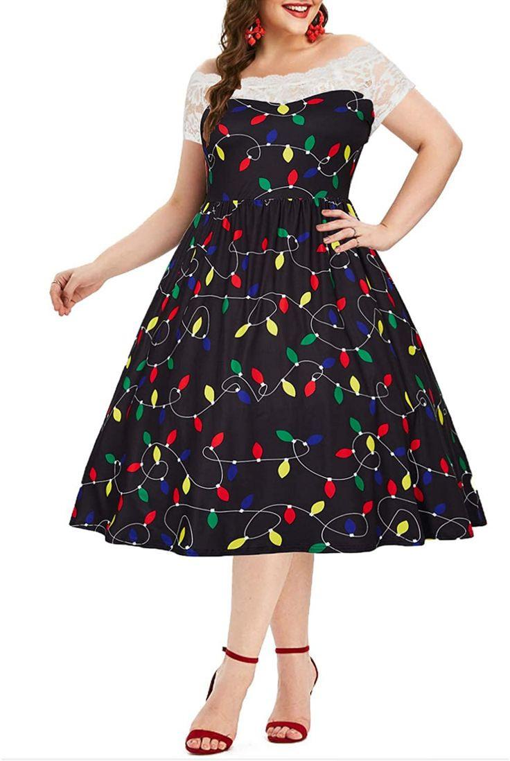 Newistar Vintage Rockabilly Übergröße Kleid Damen Ärmellos