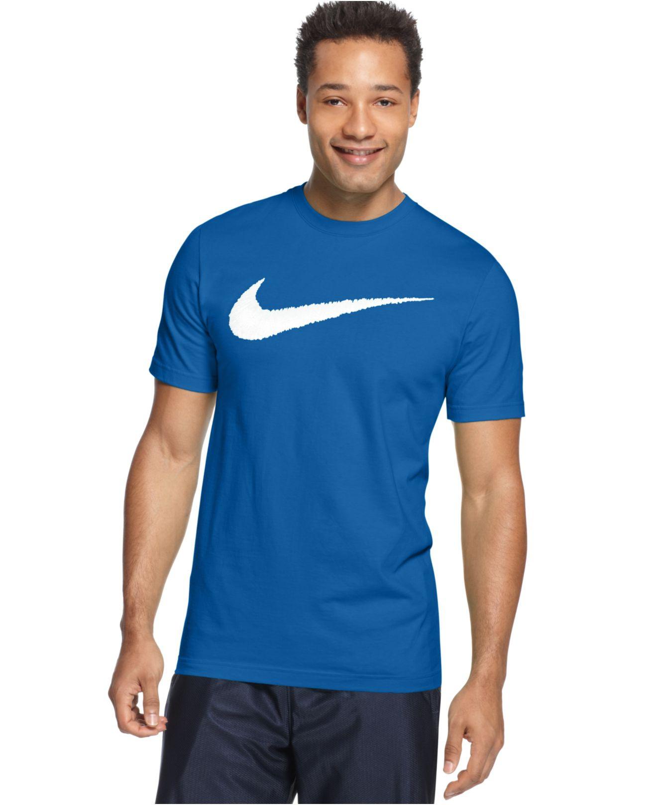Nike Cotton Men's Hangtag Swoosh Tshirt In Blue For Men