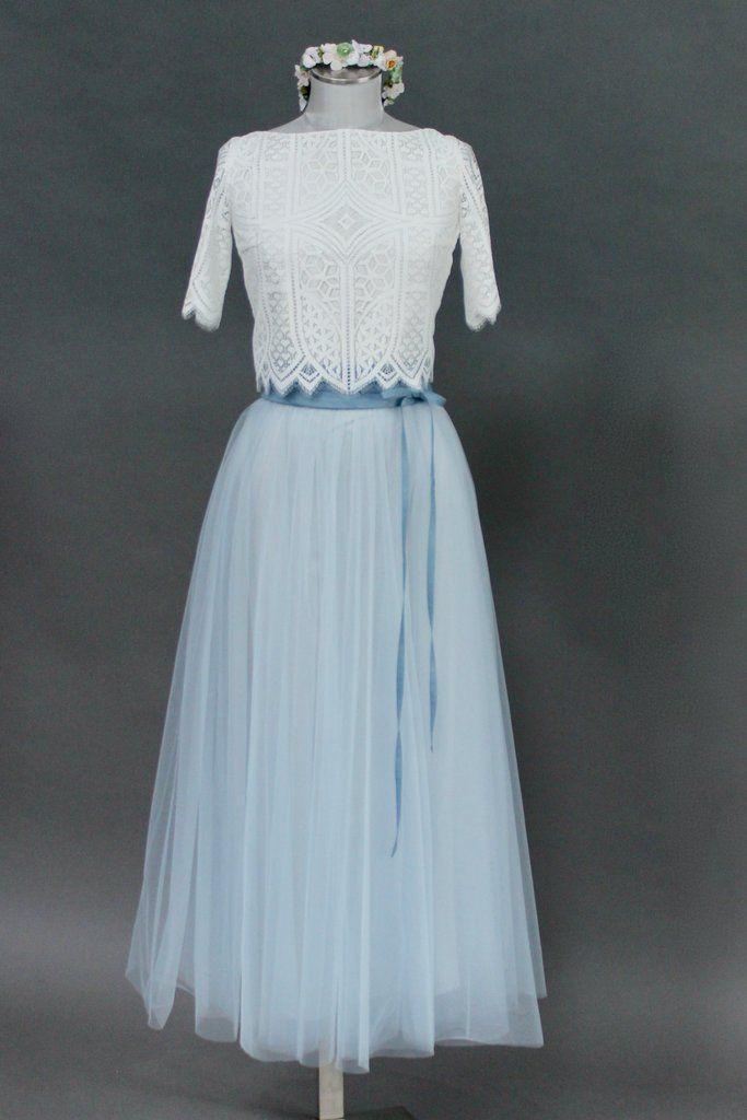 Noni  Tüllrock Brautkleid Blau Wadenlang  Tüllrock