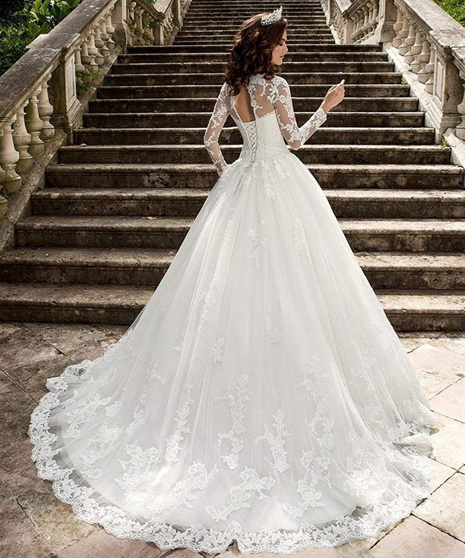 Nuojia A Linie Prinzessin Spitze Hochzeitskleider Lange