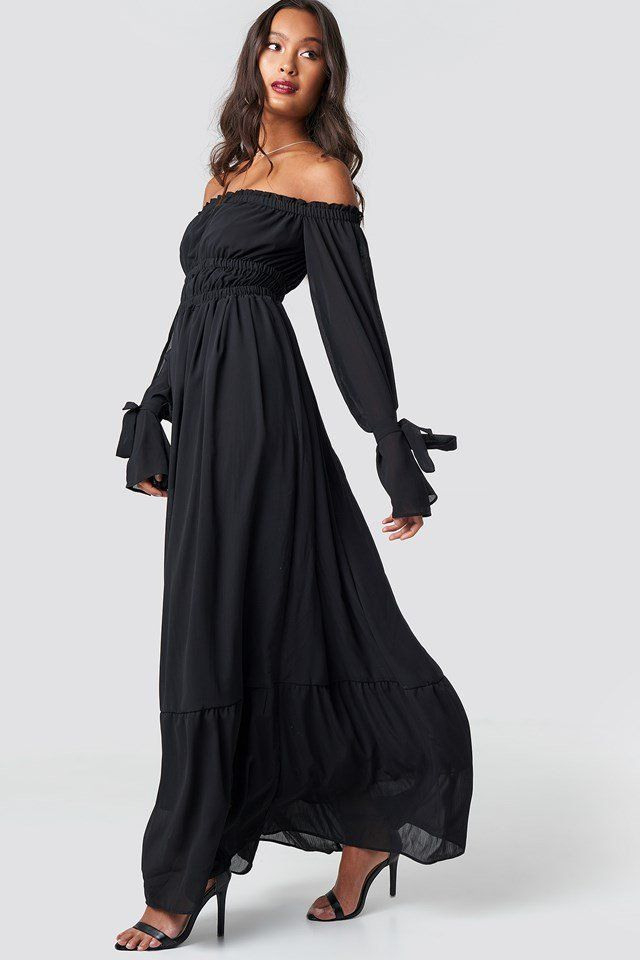 Off Shoulder Flared Maxi Dress Black  Nakd  Ropa