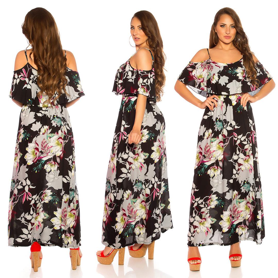 Off Shoulder Maxi Sommerkleid Mit Volant Und Flower Print