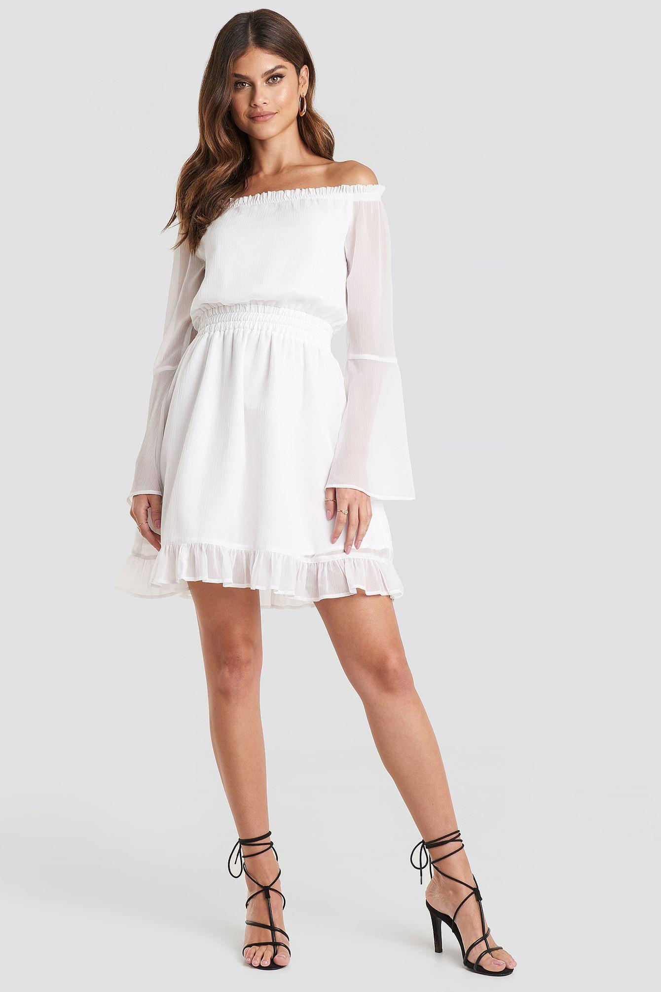 Off Shoulder Mini Dress Weiß In 2020  Minikleid