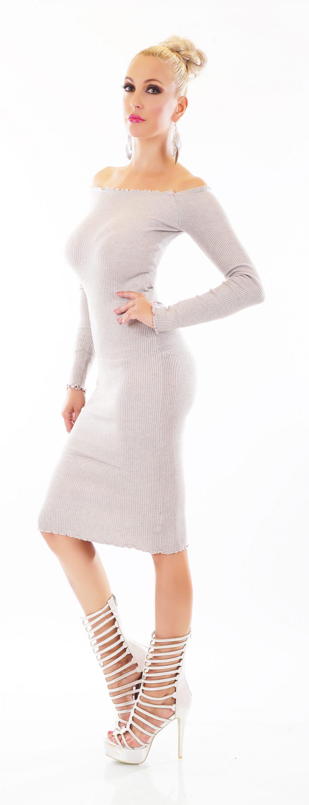 Off Shoulder Rippstrick Schlauch Kleid Midi Carmen