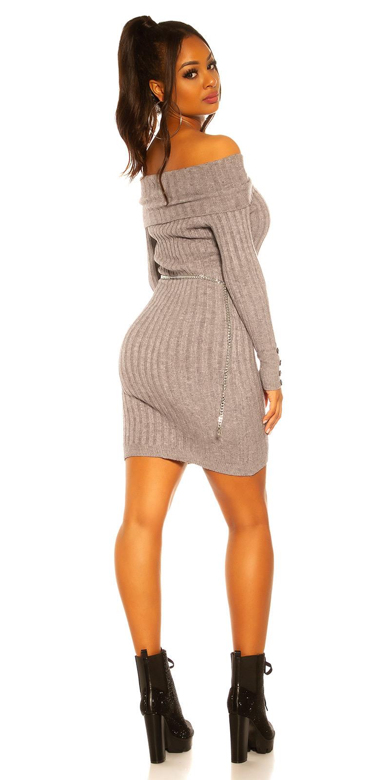 Off Shoulder Strickkleid Mit Attraktiven Kragen Pullover