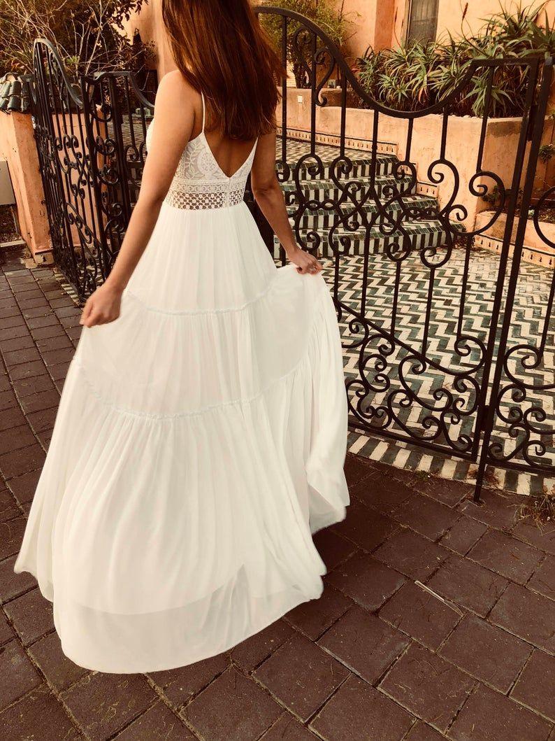 Offene Zurück Hochzeitskleid Boho Kleid Strand Hochzeit