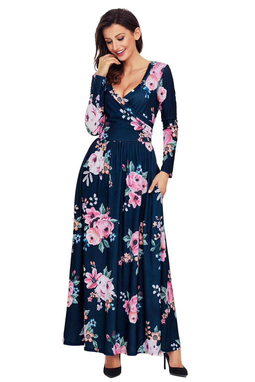 Olive Floral Surplice Langarm Maxi Boho Kleid Maxikleid