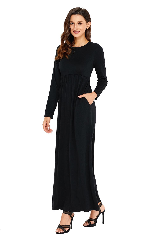 Olive Langarm Maxi Jersey Kleid Mit Hoher Taille Damen  Ebay